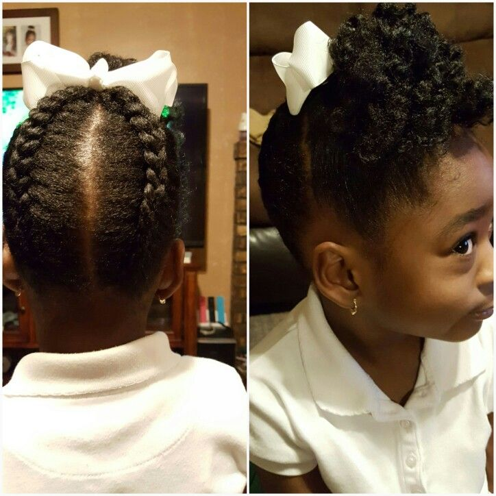2 Braids In The Back Up Into A Frontal Puff Natural Hairstyles For Kids Natural Hair Styles Girl Hairstyles