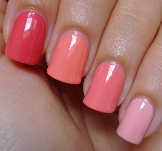 Summer mani - melon colors (left to right):  Essie Cute As A Button, Essie Haute As Hello, Essie Tart Deco, Essie Van D´Go