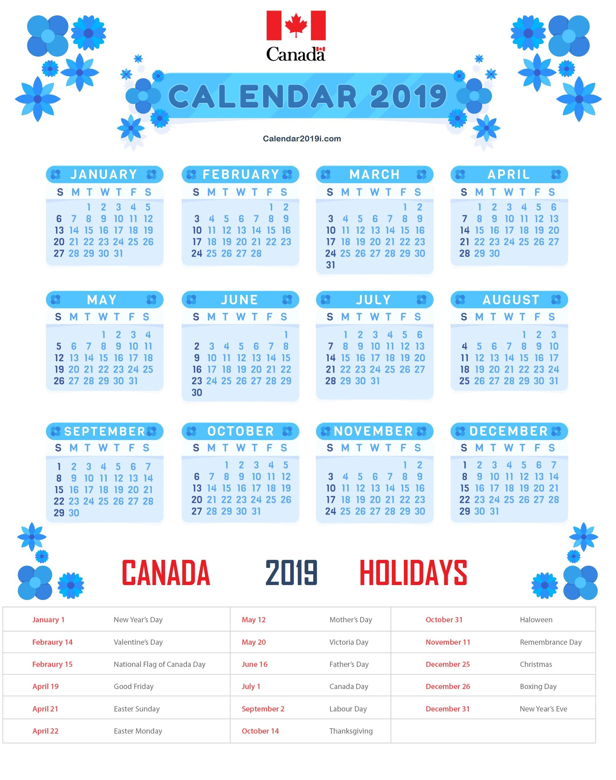 Canada Holidays Calendar 2019 Templates Printable Bank Public