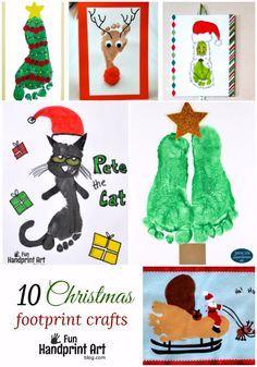 10 creative footprint christmas crafts for kids featured on funhandprintartblogcom