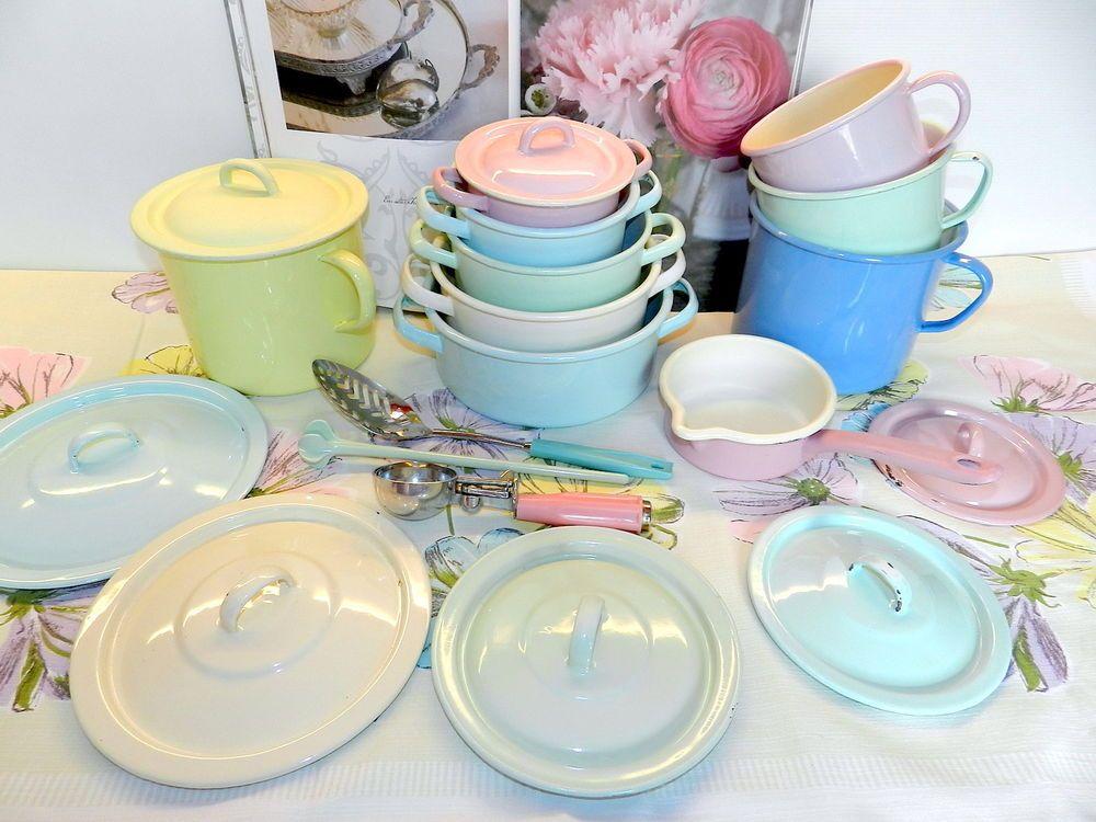 Küchenschrank Vintage ~ Konvolut emaille kochtÖpfe pastell farben 70er jahre vintage kÜche