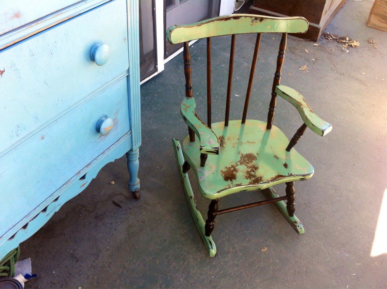 shabby chic childrens furniture. SOLD - Shabby Chic Child\u0027s Rocking Chair, French Country Home Decor, Chippy Paint Green, Gold Undertones \u0026 Stained Wood Kids Chair By Childrens Furniture