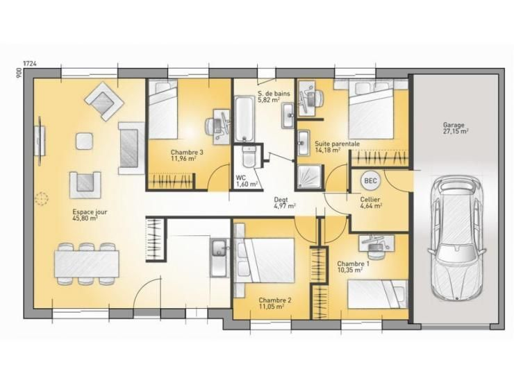 Plans De Maison : Modèle Family : Maison Traditionnelle De Plain Pied De  110m2.
