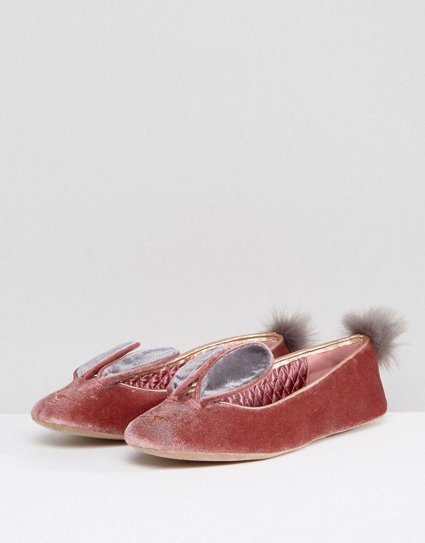 068a8281221745 Ted Baker Bellamo Pink Velvet Bunny Slippers - Pink