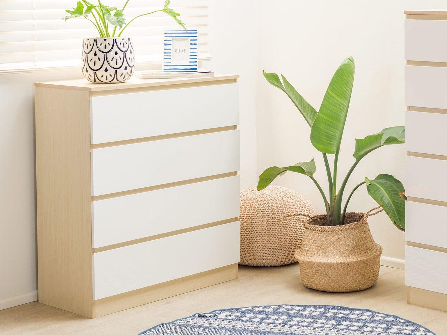 Mocka Jolt Four Drawer Natural White Storage Furniture Bedroom