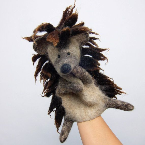 Bob Marley style hedgehog wet felted hand puppet by bibabo on Etsy, €70.00