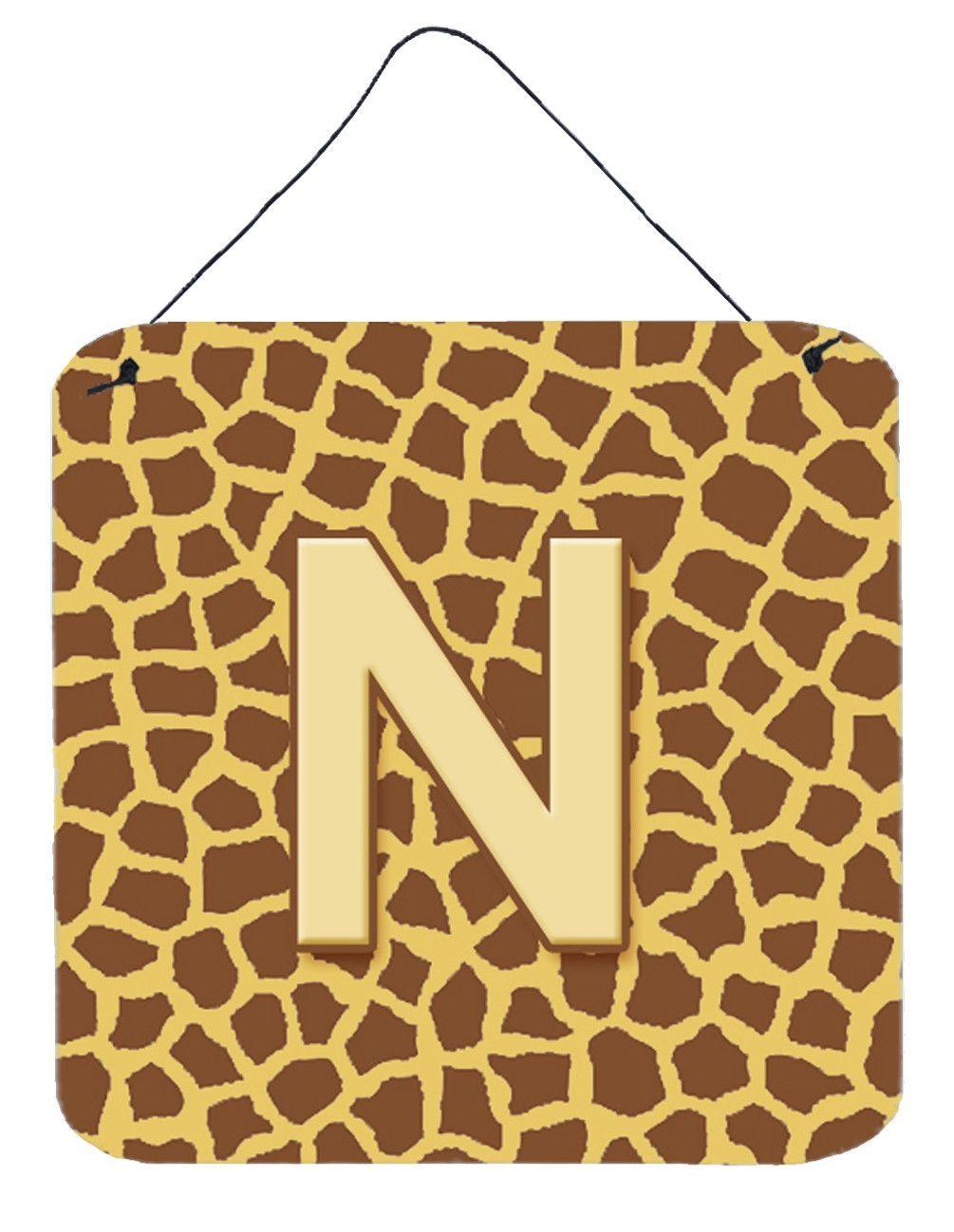 Letter N Initial Monogram - Giraffe Aluminium Metal Wall or Door ...