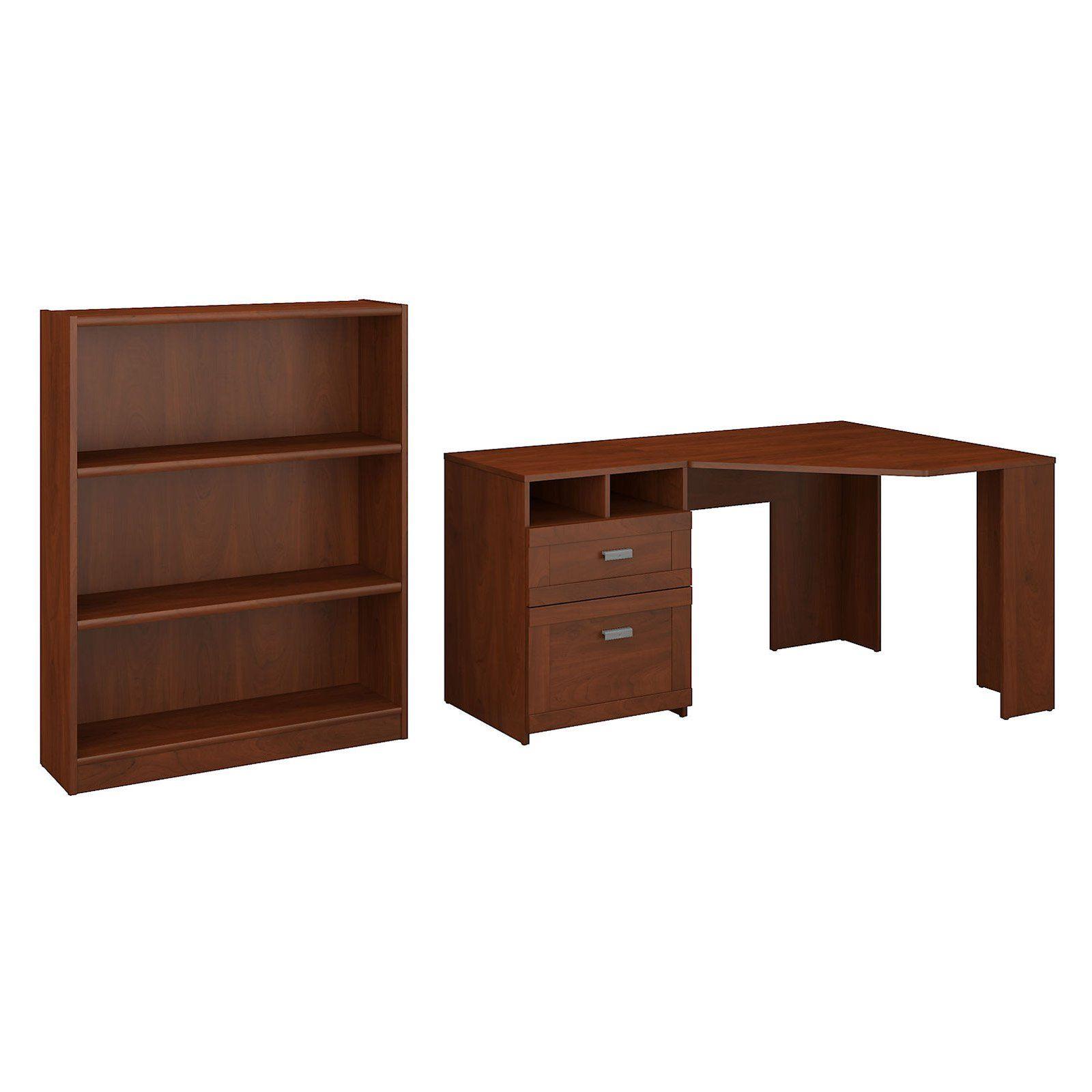 Bush Furniture Wheaton Reversible Corner Desk With Bookcase Bush