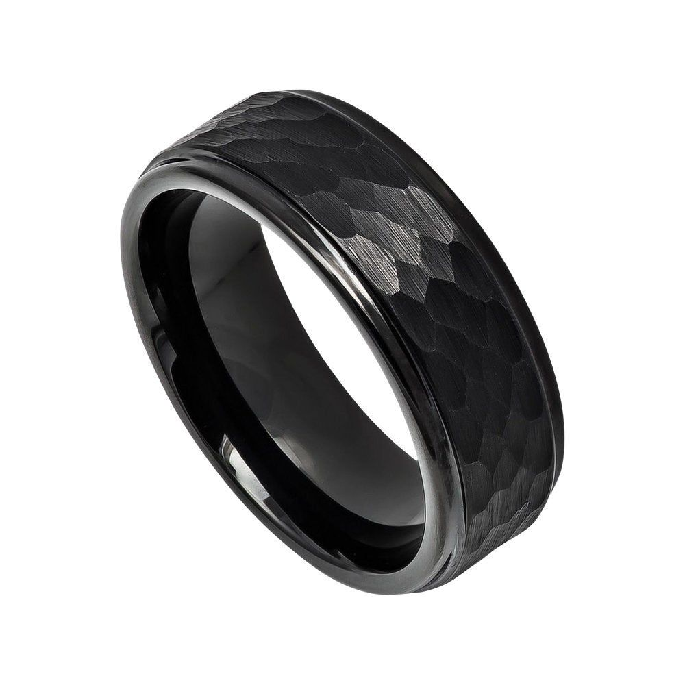 Black Plated flat brushed center with high polished stepped edge ring Tungsten Carbide 8mm Wedding Band