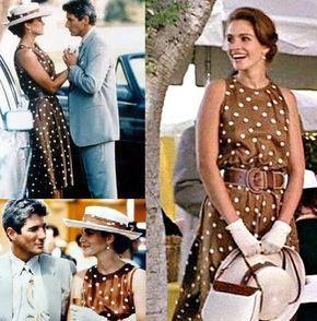 Julia Roberts Pretty Woman Outfits   julia roberts brown polka dot dress polo scene pretty woman