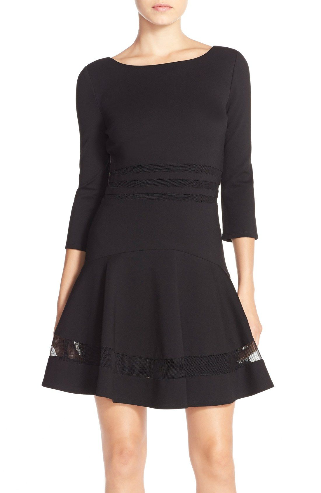 Erin Erin Fetherston Mesh Inset Ponte Fit Flare Dress Nordstrom Fit And Flare Cocktail Dress Fit Flare Dress Little Black Cocktail Dress [ 1687 x 1100 Pixel ]