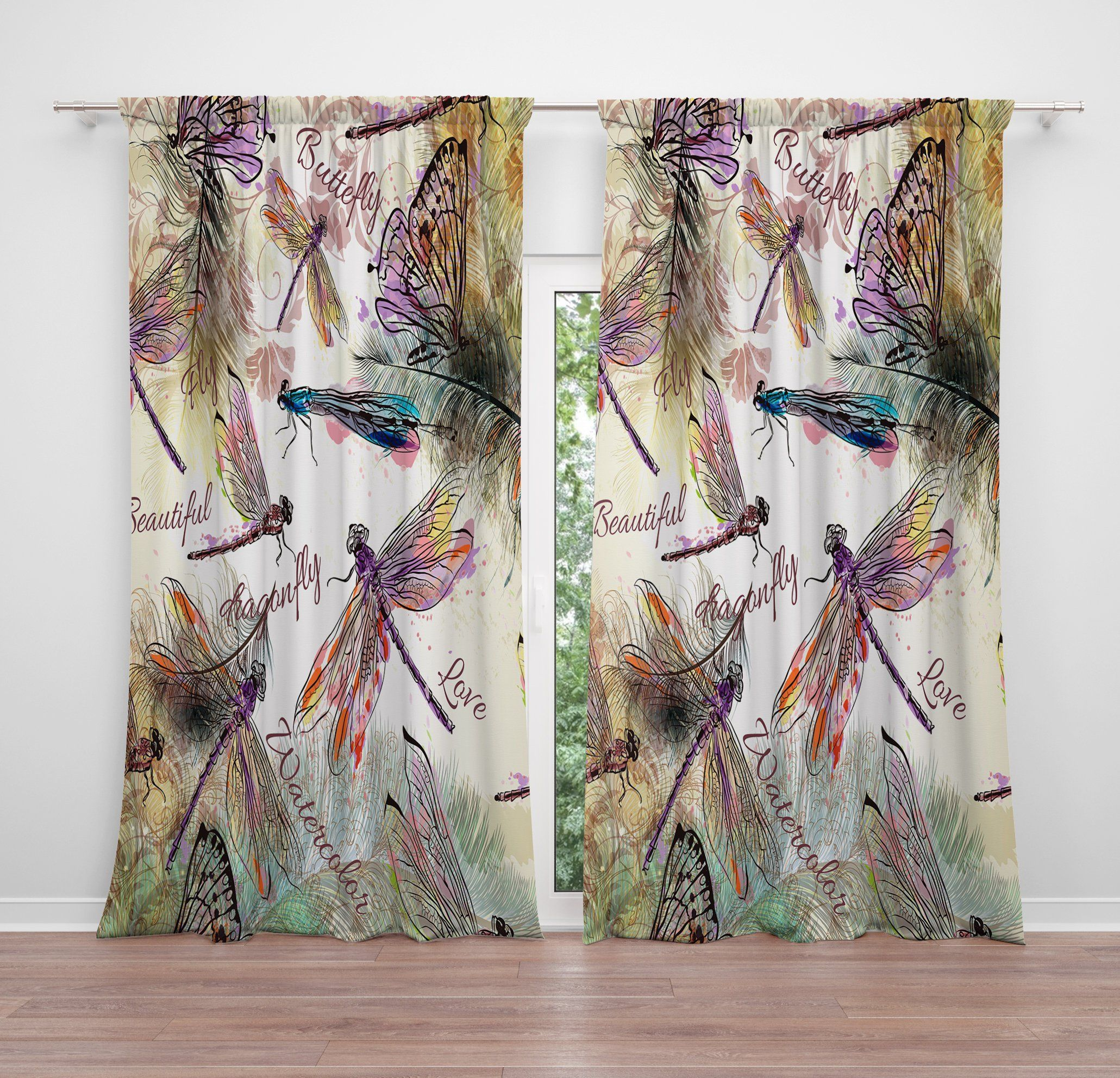 Boho Watercolor Window Curtain Panels Long Panel Sheer And
