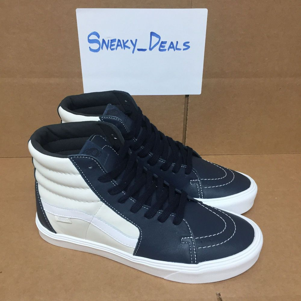 4ec25f351f Vans Vault Sk8-Hi Lite LX Premium Leather Marshmallow Blue Night ...