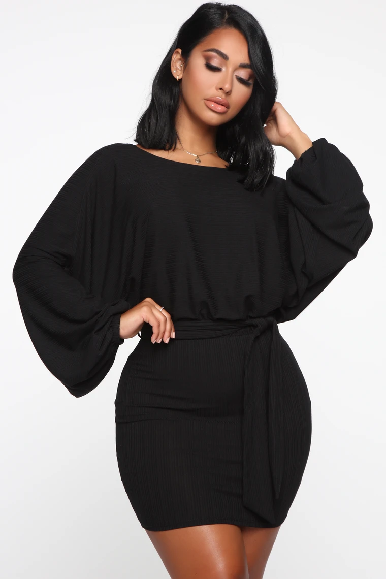 Over The Top Sweater Mini Dress Black Mini Black Dress Mini Dress Black Dress Outfits [ 1140 x 760 Pixel ]