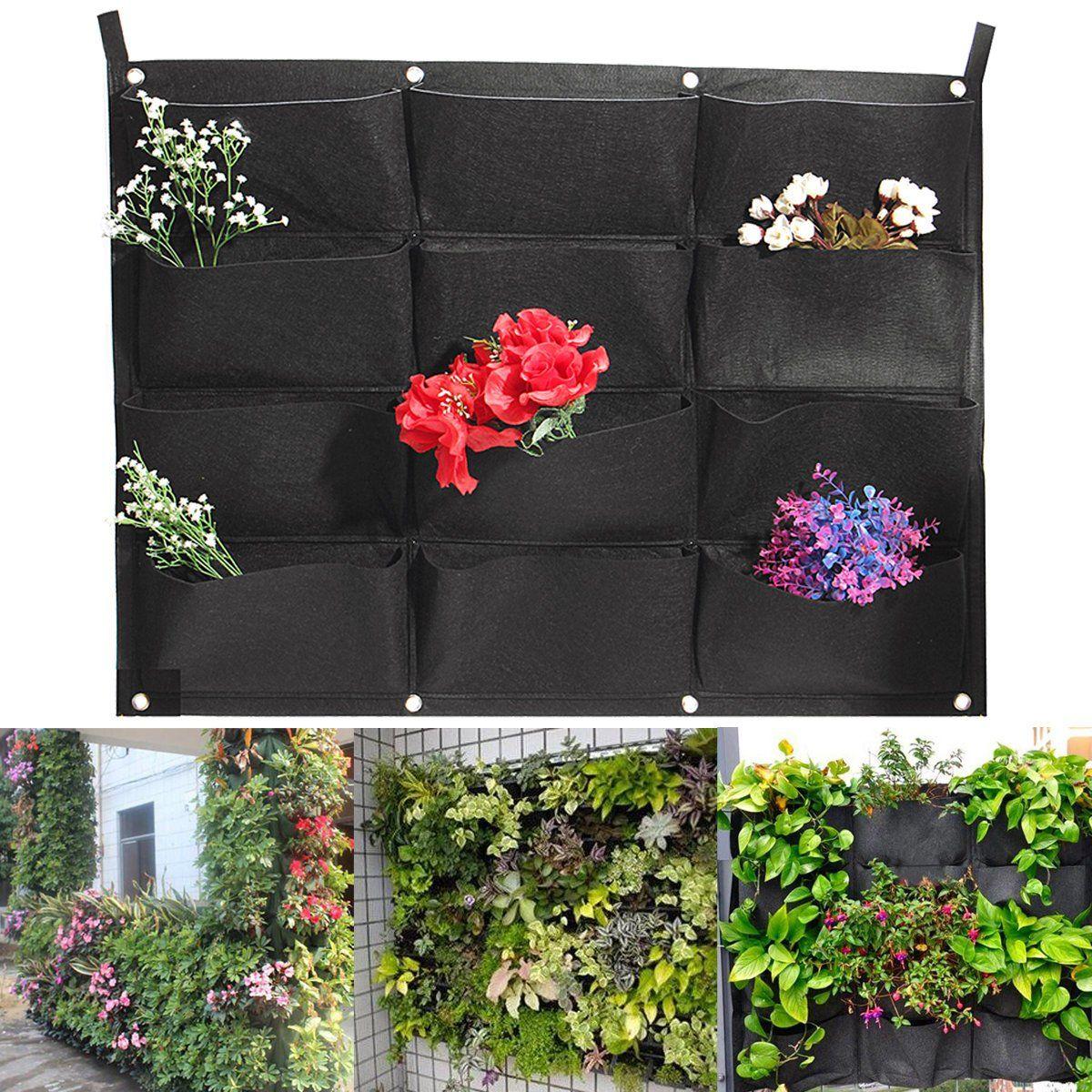 12 Pockets Vertical Garden Wall Planter Hanging Bag Yard
