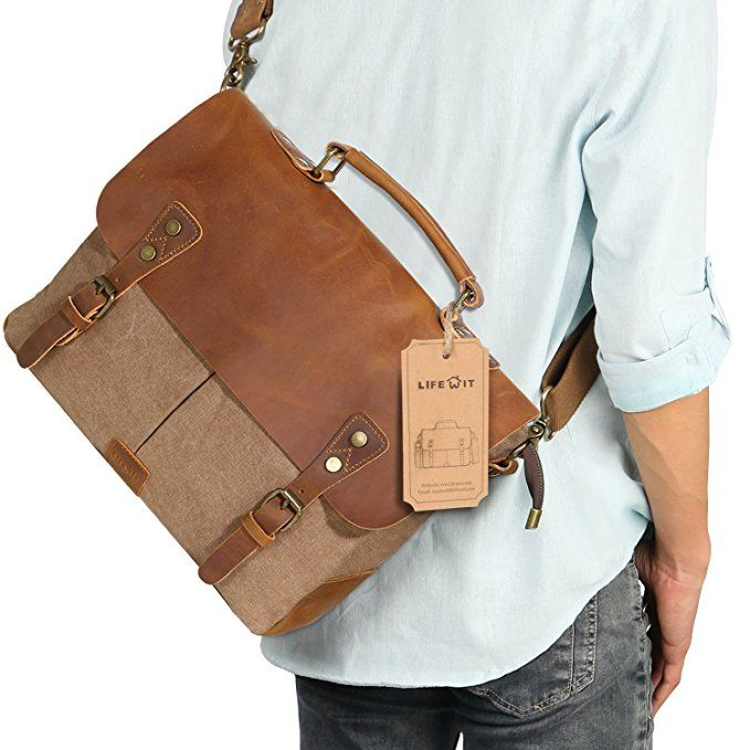 5f05a1685b Lifewit 14-15.6 Inch Leather Satchel Messenger Laptop Shoulder  Bag Canvas   Briefcase (
