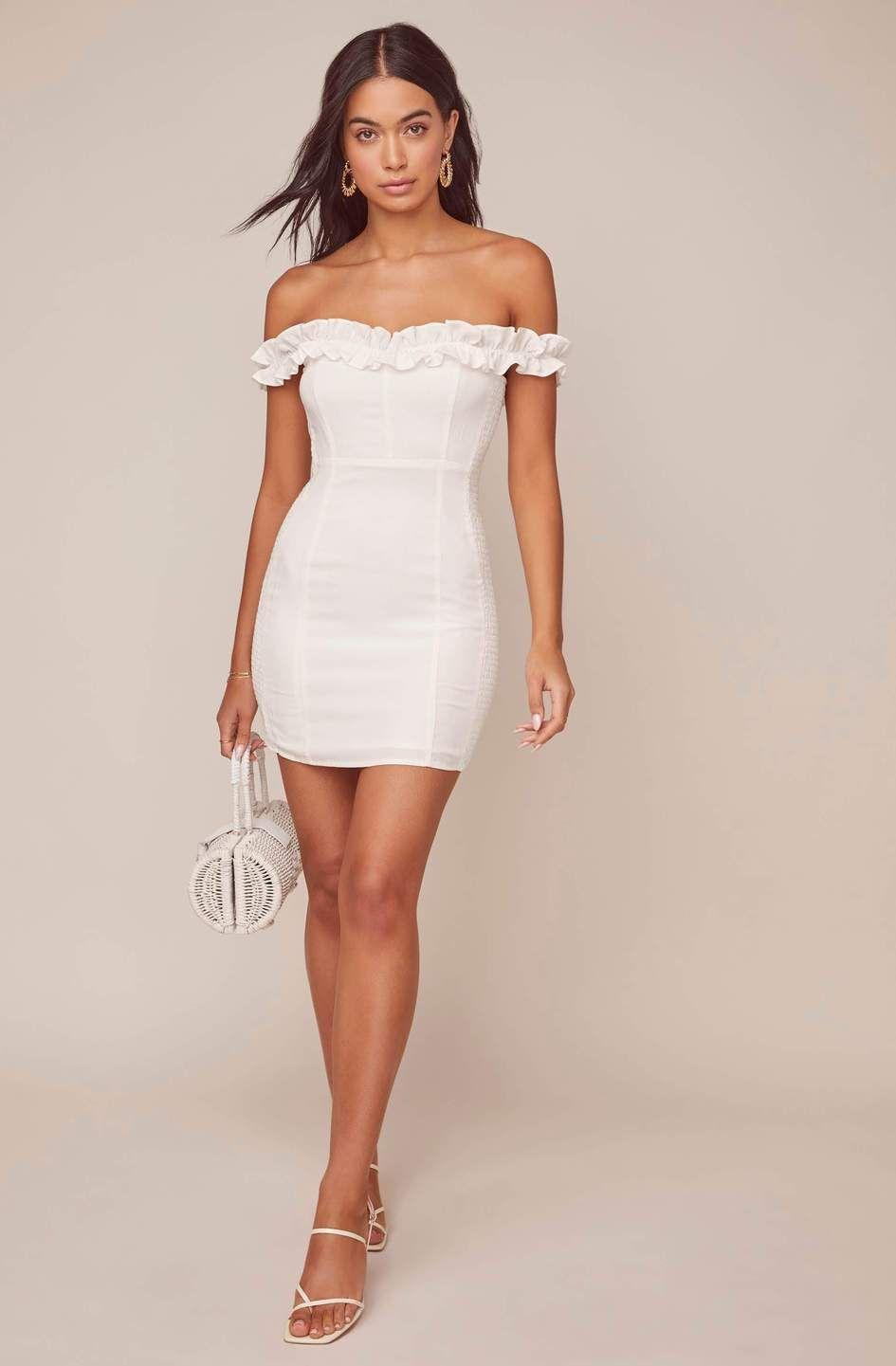 Renata Off Shoulder Dress White Mini Dress White Short Dress Dresses [ 1441 x 945 Pixel ]