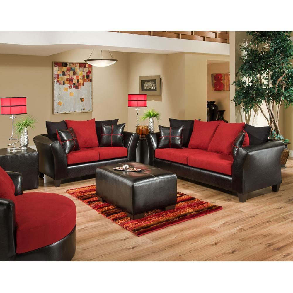 Carnegy Avenue 2 Piece Victory Lane Cardinal Microfiber Jefferson Black Vinyl Living Room Sets In 2020 Black Living Room Living Room Red Black And Red Living Room