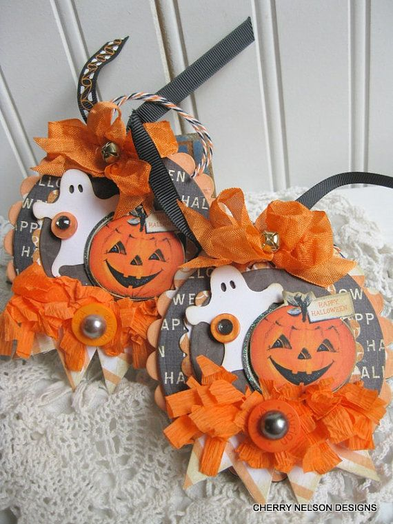 Vintage Halloween Tags Pumpkins And Ghosties Handmade Layered Tags Ornaments Decoration Halloween Tags Halloween Paper Crafts Halloween Cards Handmade