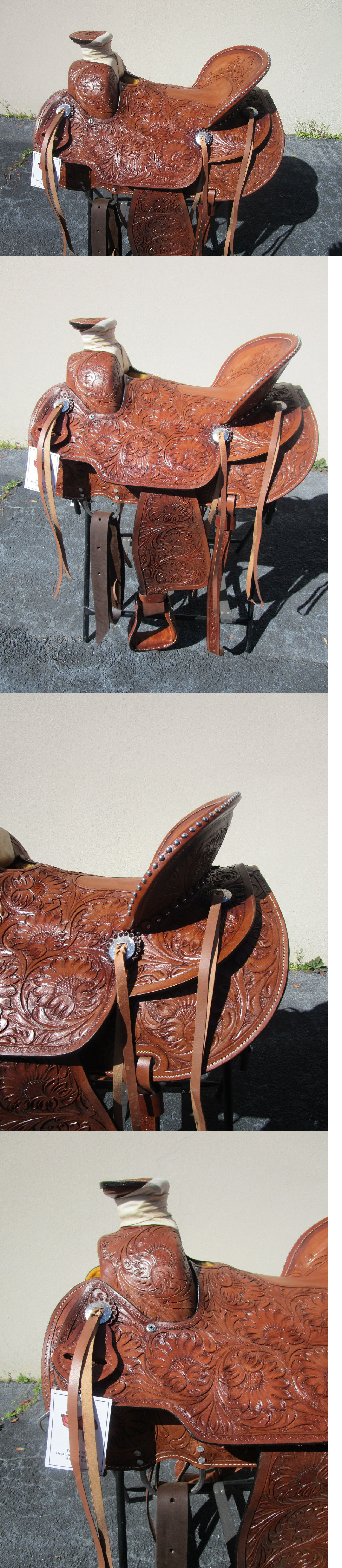 Saddles 47291: 17 Silver Stud Wade Roping Ranch Western Pleasure Tooled Leather Horse Saddle BUY IT NOW ONLY: $386.99