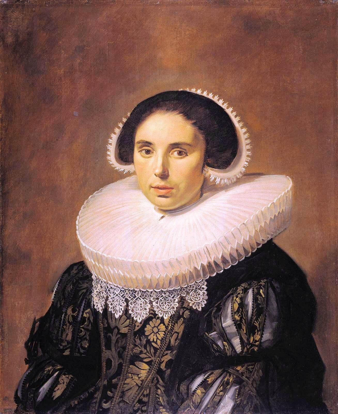 Portrait Painting Flemish woman with big collar Sum