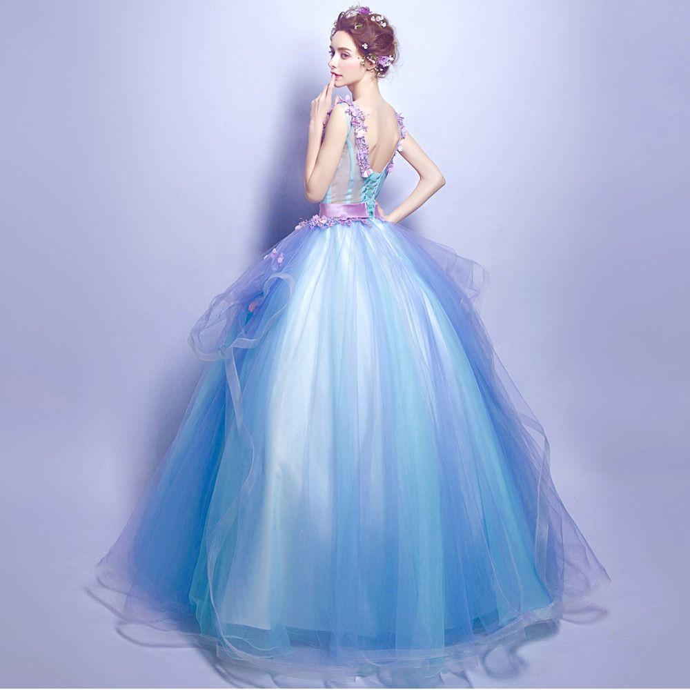 Angel wedding dress marriage bridal gown prom blue flowers deep
