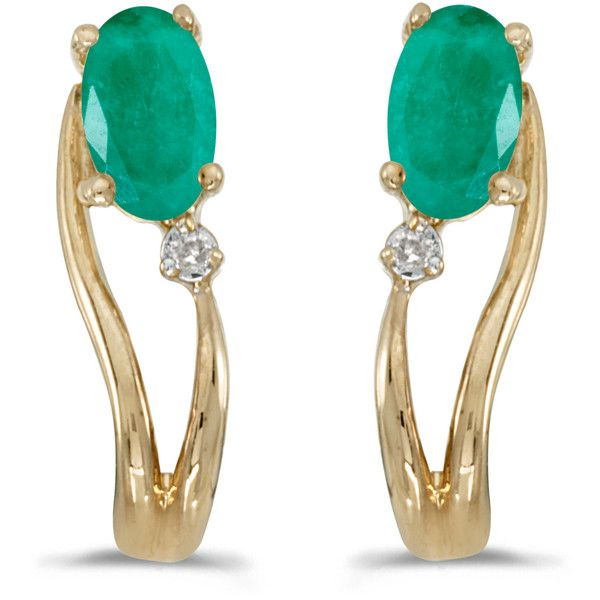14k Yellow Gold Oval Emerald And Diamond Wave Earrings (710 RON) ❤ liked on Polyvore featuring jewelry, earrings, gold emerald earrings, gold oval earrings, gold jewelry, gold diamond jewelry and yellow gold diamond earrings