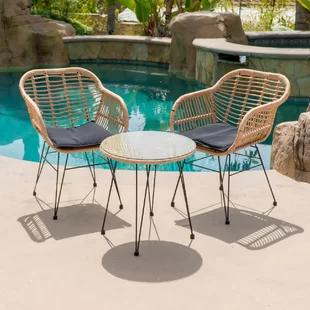 Modern Outdoor Bistro Tables Allmodern 3 Piece Bistro Set