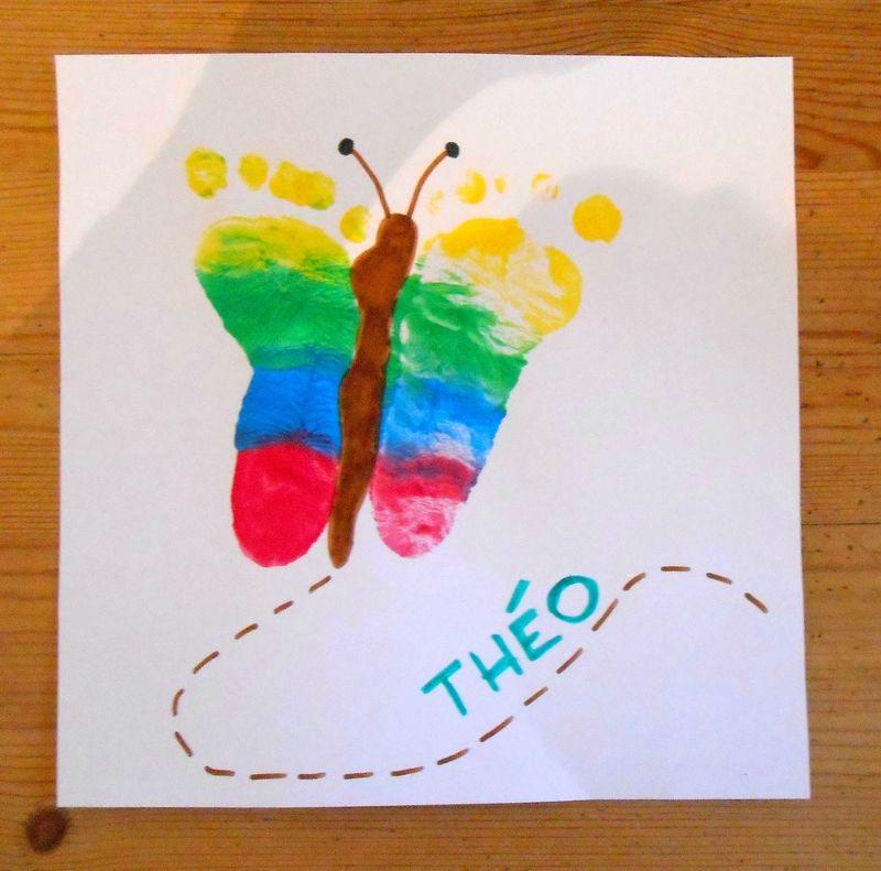 Papillon Empreinte Pieds B B Enfants Activit Manuelle Peinture Facile Printemps Couleurs