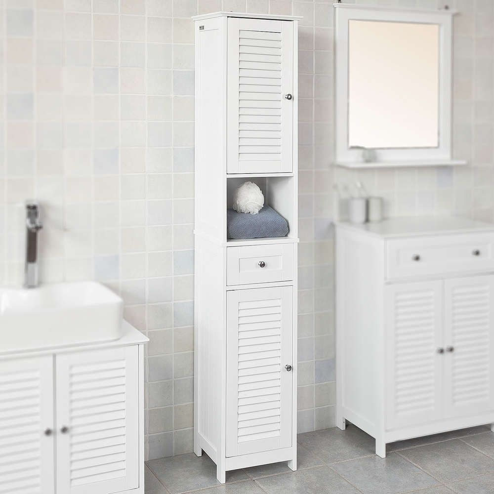 Sobuy Badezimmer Hochschrank Badregal Badschrank Mit 2 Turen Weiss Frg236 W Badezimmer Hochschrank Badschrank Hochschrank