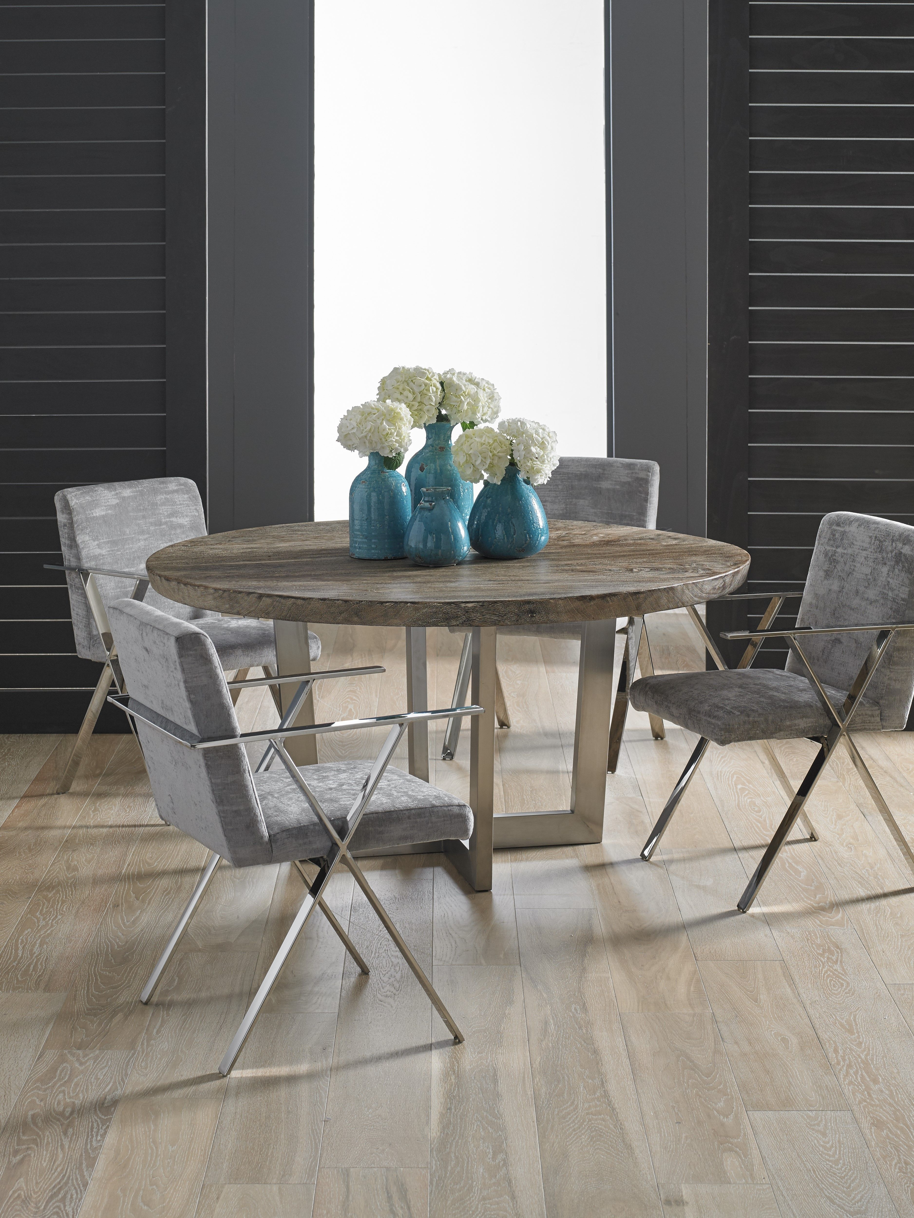 Grey stone round dining table from our origins collection