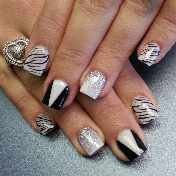 Black And White Design Nails Different Design On Each Nail Beauty