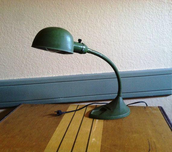 Vintage Industrial Green Military Desk Lamp With By Vintagelessusa Desk Lamp Vintage Industrial Lamp
