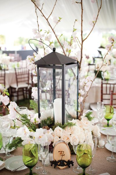 Southern Centerpiece Idea Wrought Iron Lantern With Cherry