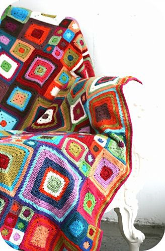 Uneven crotchet square blanket. By Purl Soho.