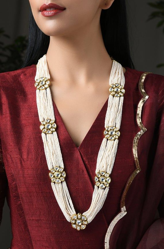 Pearl Beaded Kundan Inspired Necklace / Kundan Nec