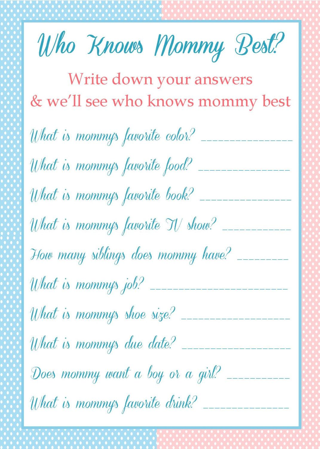 Who Knows Mommy Best   Baby Shower Game   $5.00