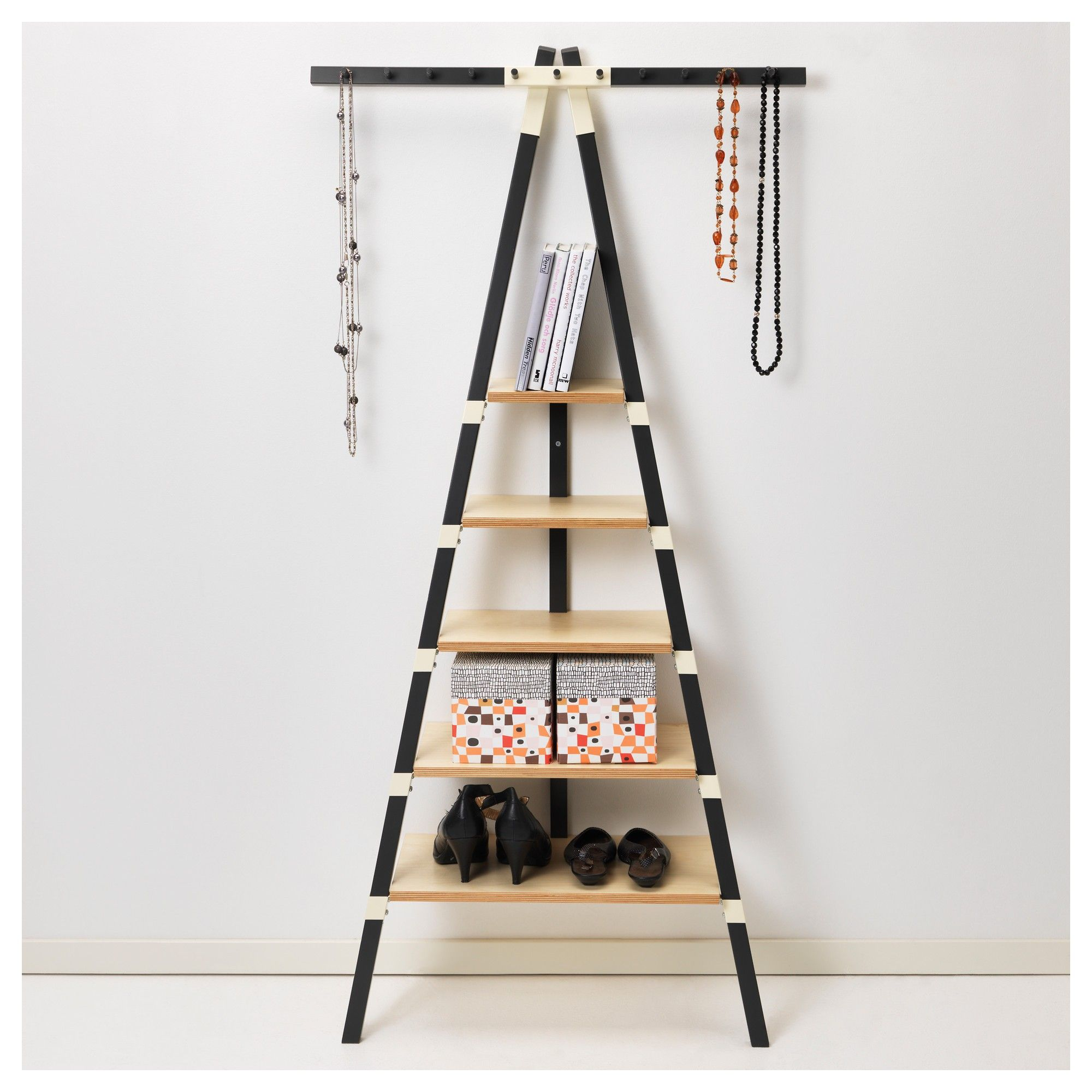 Attractive Leaning Ladder Shelf For Middle Room Design Idea Wooden