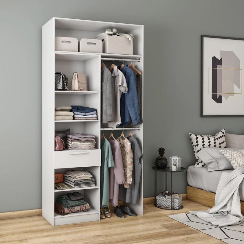 Dressing Spaceo Home Blanc H 240 X L 120 X P 45 Cm En 2020 Dressing Blanc Dressing Et Mobilier De Salon