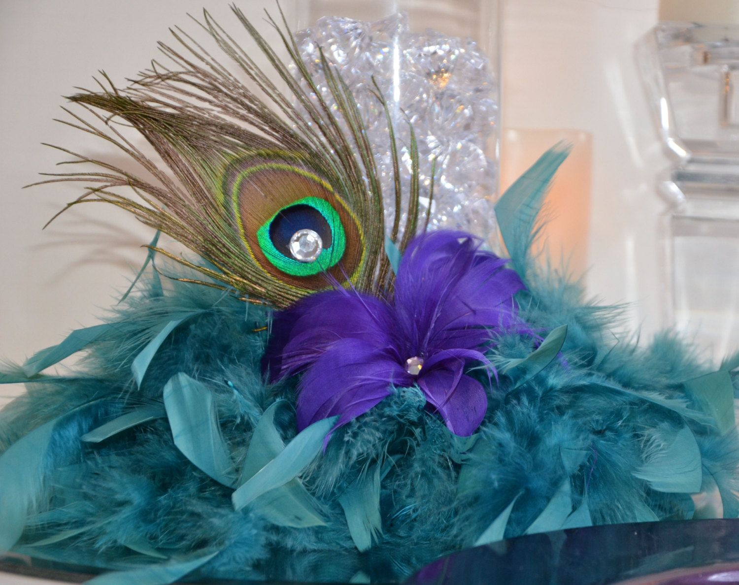 Wedding decorations lilac  Peacock Feather Wedding Reception Centerpiece Peacock Decorations