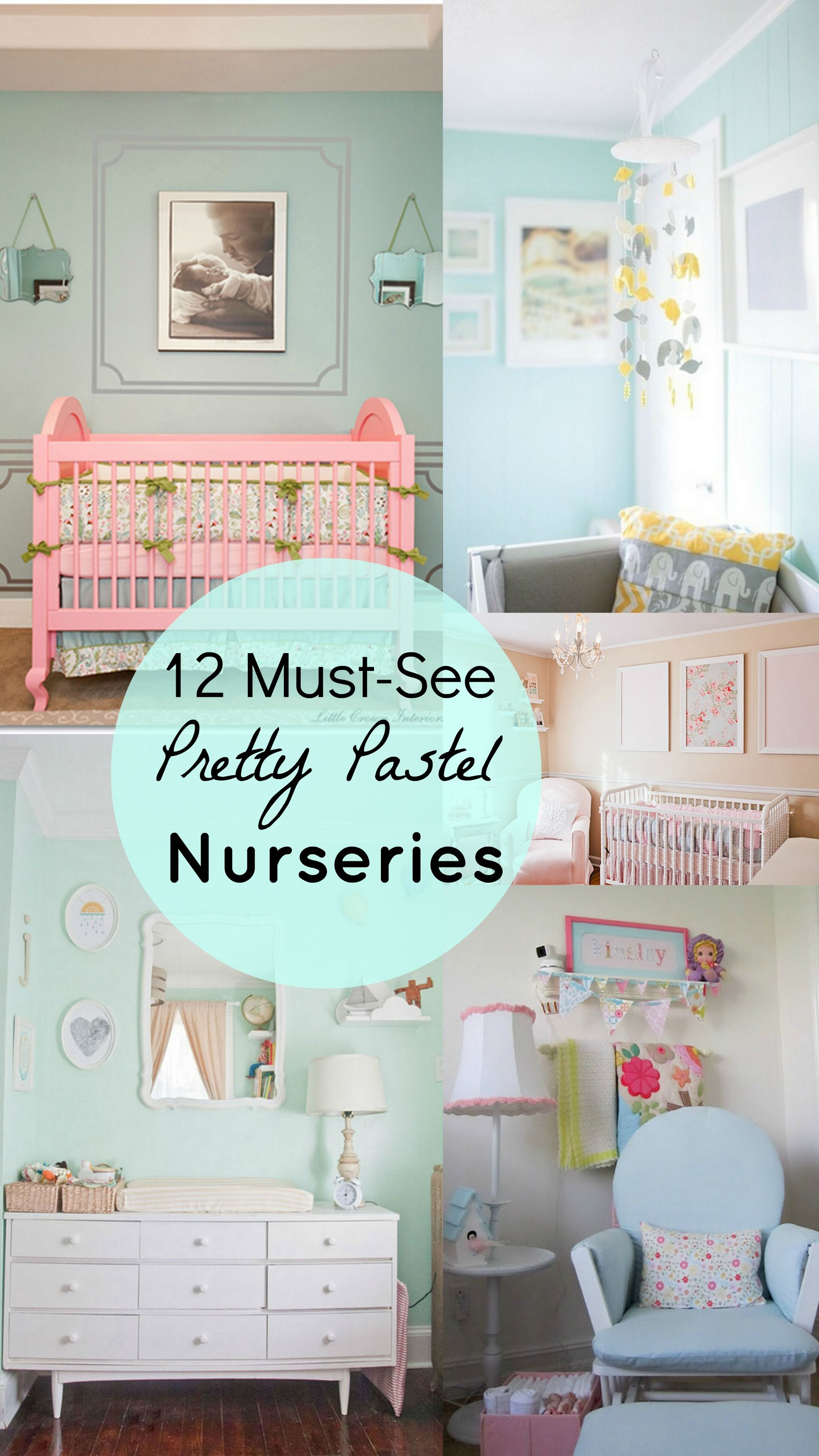12 Must See Pastel Colored Nurseries scrapbook paper in frames
