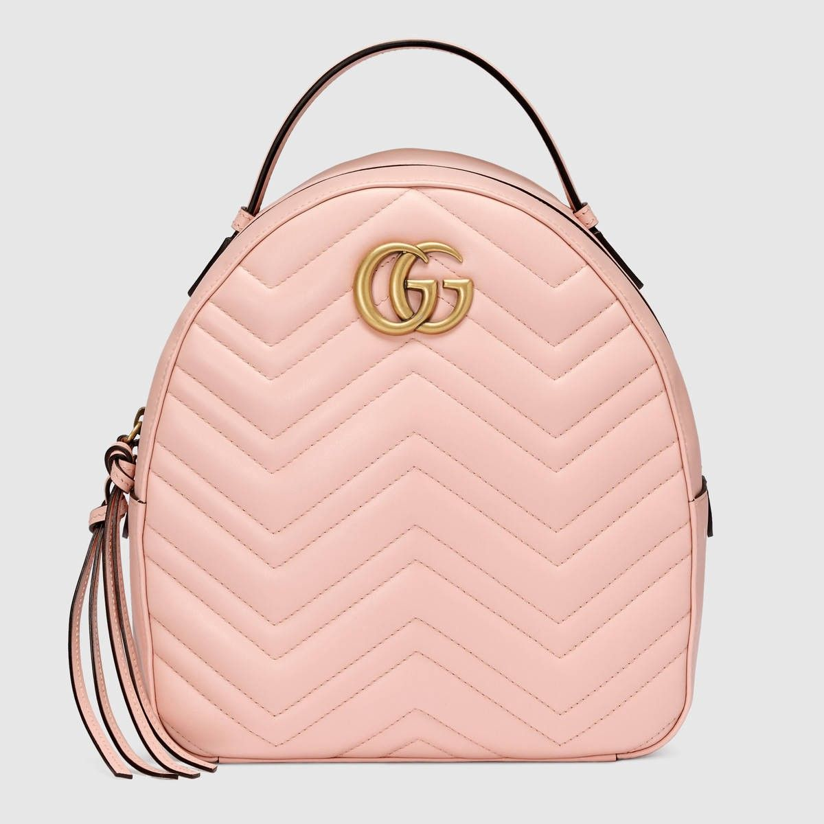 1aab01847b7a GUCCI GG Marmont quilted leather backpack - light pink chevron leather.   gucci  bags  lining  backpacks  suede