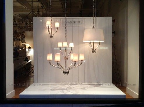 chart house window display in the circa lighting chicago showroom