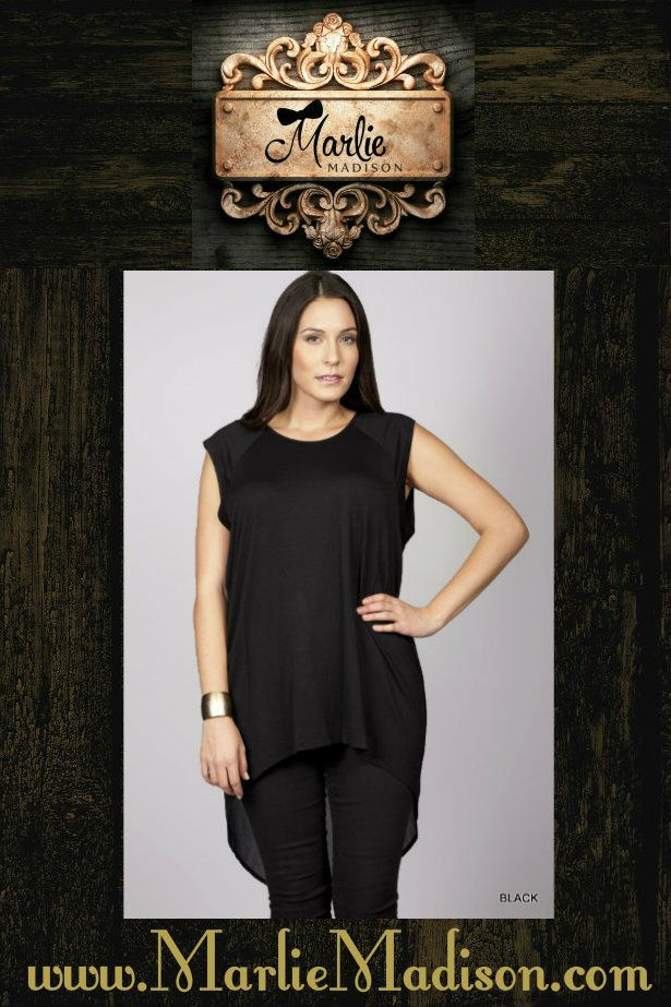 Melissa High/Low Tunic in Black http://www.marliemadison.com/melissa-tunic   #tunic #highlow #womens #trendy #cute #stylish #chic #plussize