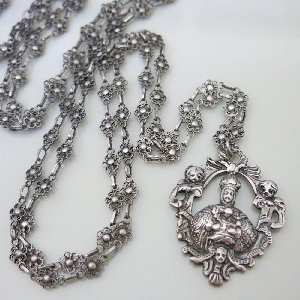 Vtg Renaissance Revival Silver Filigree Peruzzi Art Nouveau Pendant Necklace