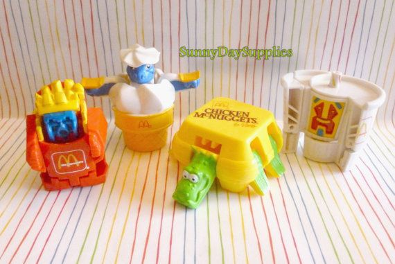 4 Vintage McDonalds Toys,  The Whole Meal, Fries, Drink, Chicken McNuggets and an Ice Cream Cone, Changeables /Transformers