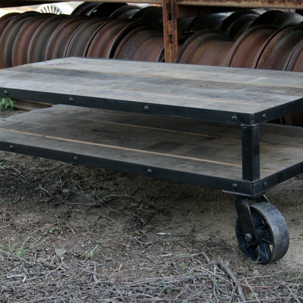 Industrial casters coffee table therapybychance
