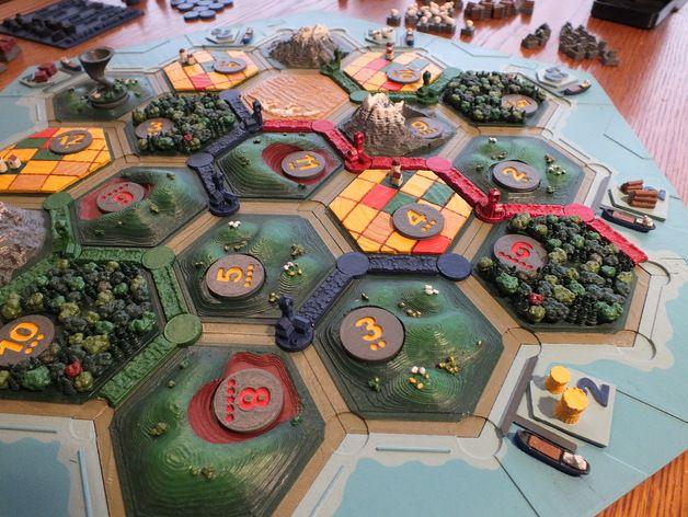 Godehart 3d Printed 3d Catan Terrain Pieces By Jawong Catan Custom Board Games Board Game Design