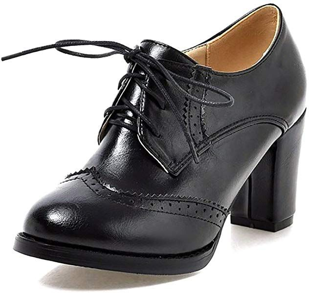 1dbf4de54485a Amazon.com | Novel Harp Womens PU Leather Oxfords Chunky High Heels ...