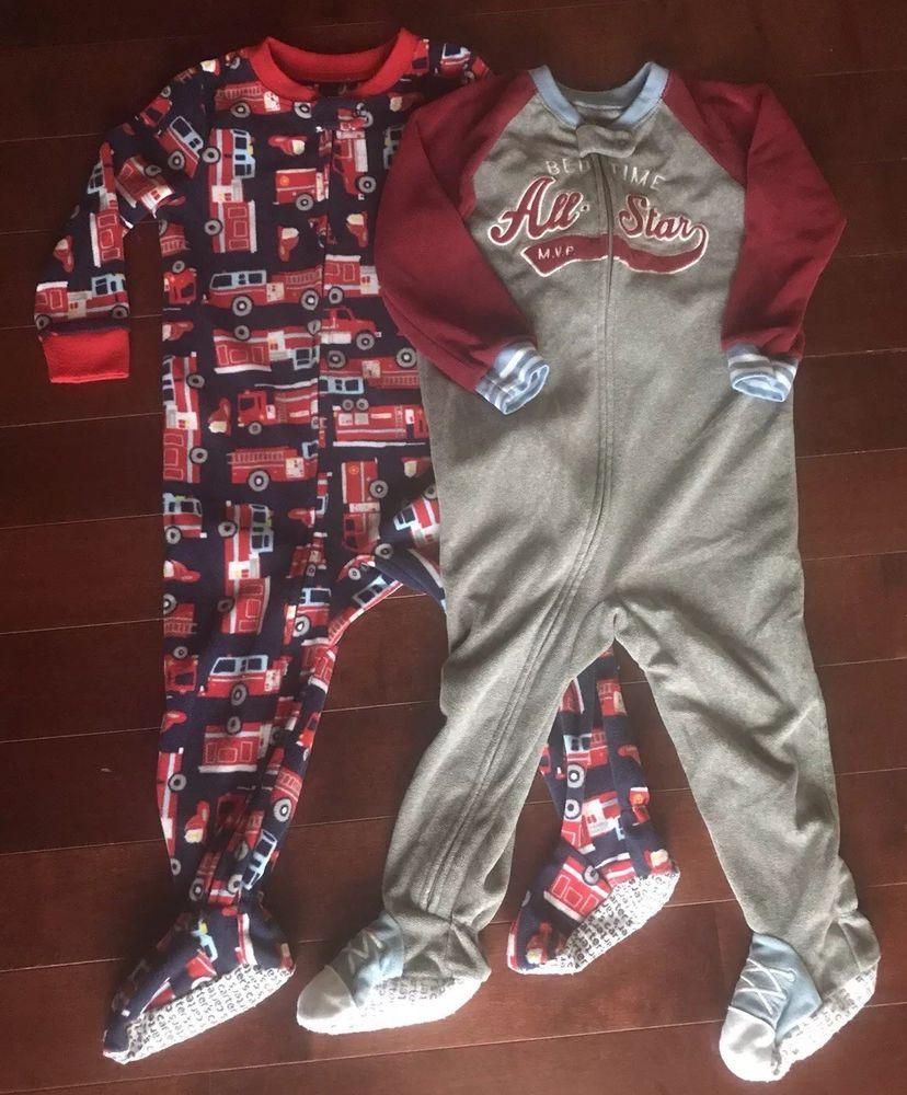 480e9a76aa0a Carter s Toddler Boys Zip Fleece Footed Pajamas Baseball   Firetruck ...